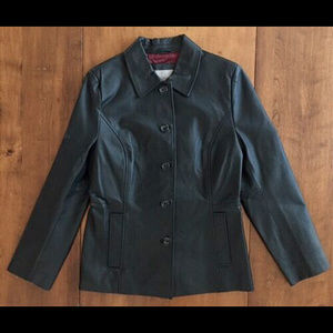 CROFT AND BARROW LEATHER JACKET Lined BLACK M